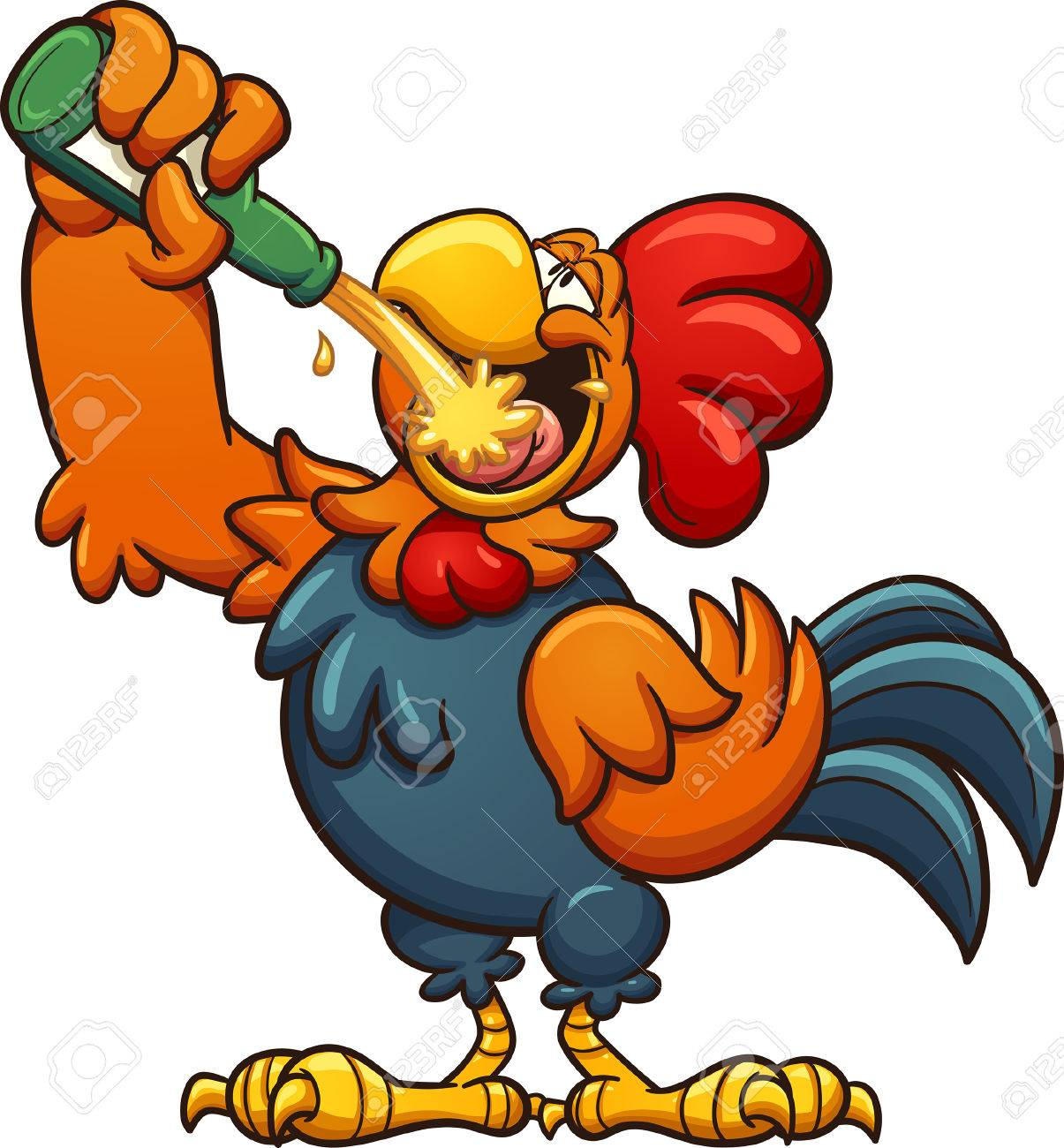hight resolution of drunk cartoon rooster drinking a beer vector clip art illustration with simple gradients all