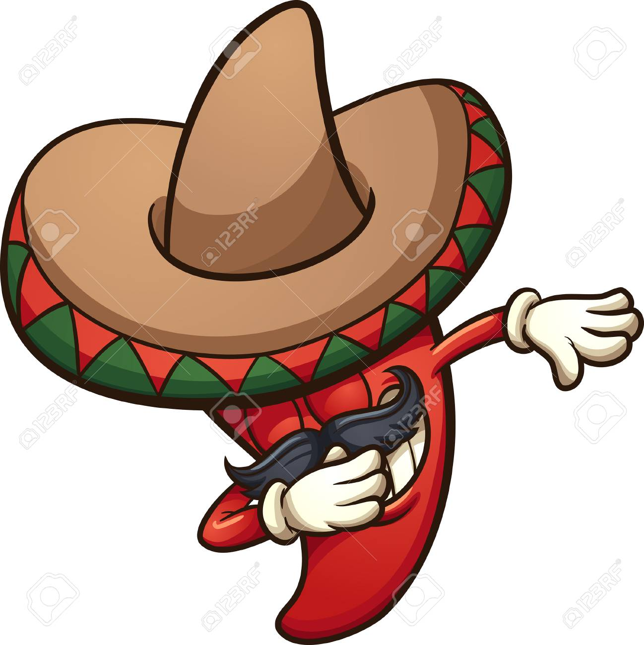 hight resolution of dabbing mexican red chili pepper vector clip art illustration with simple gradients all in