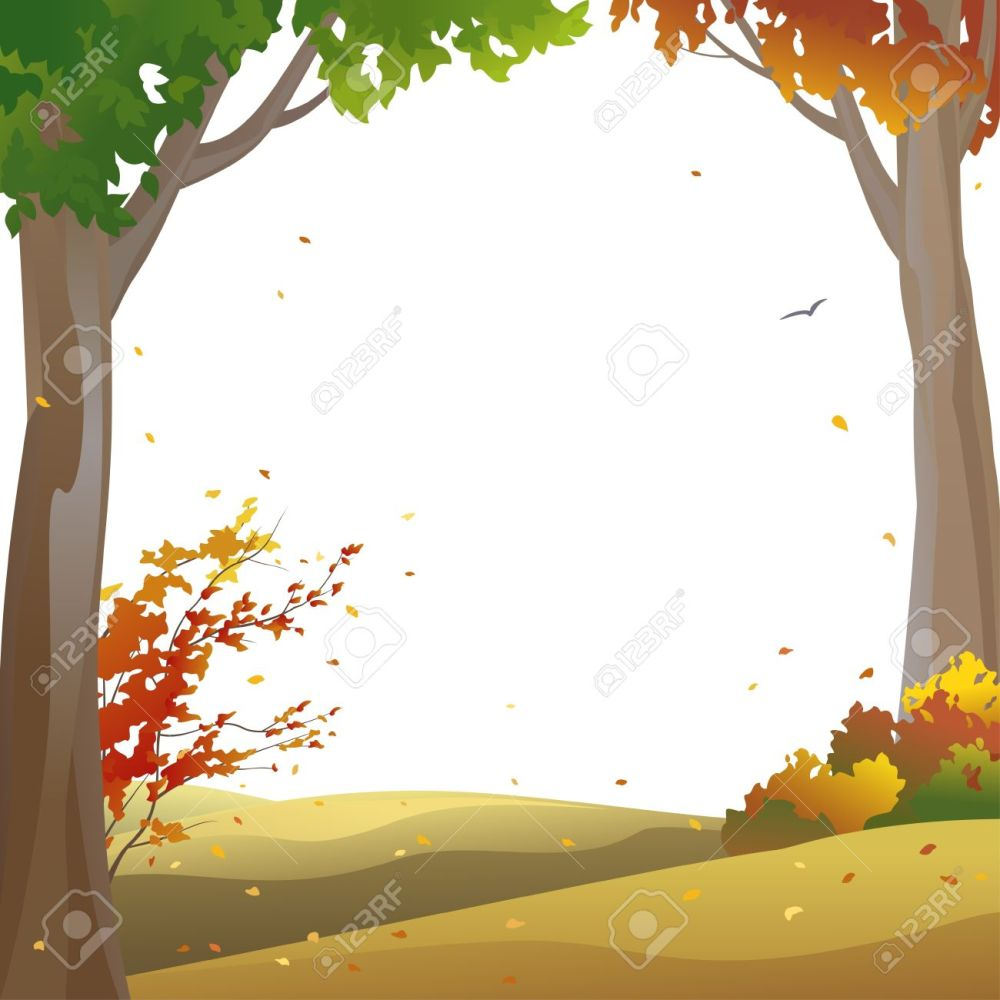 medium resolution of vector background with autumn trees and falling leaves