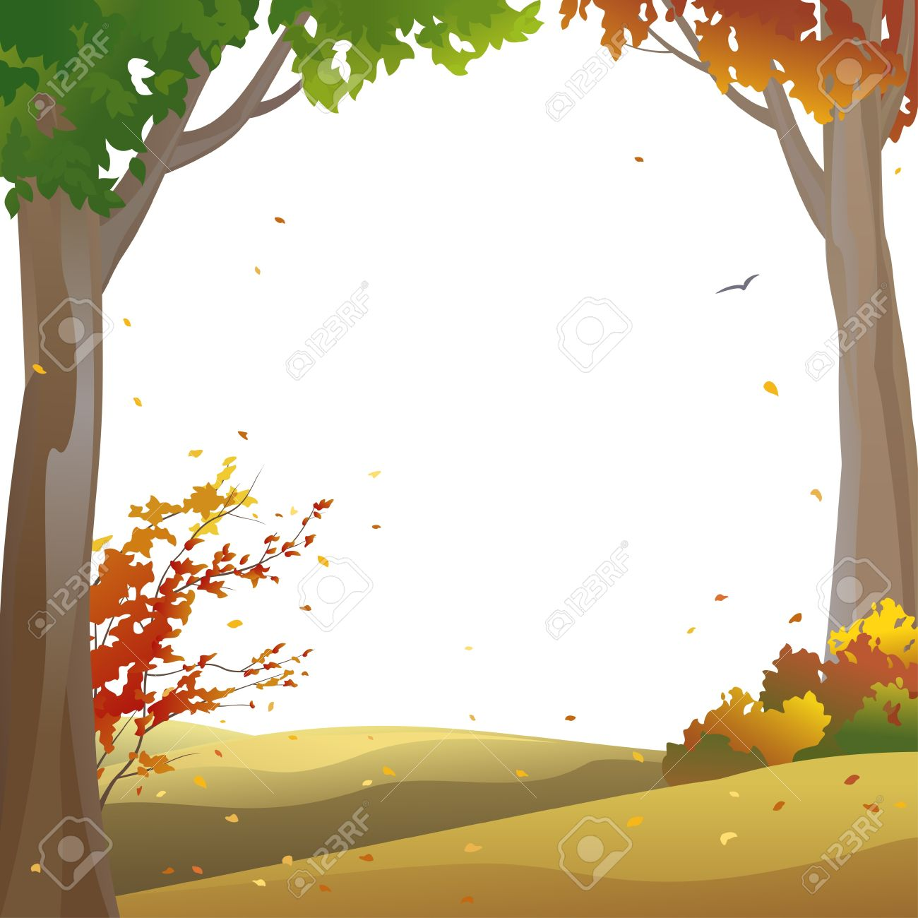 hight resolution of vector background with autumn trees and falling leaves