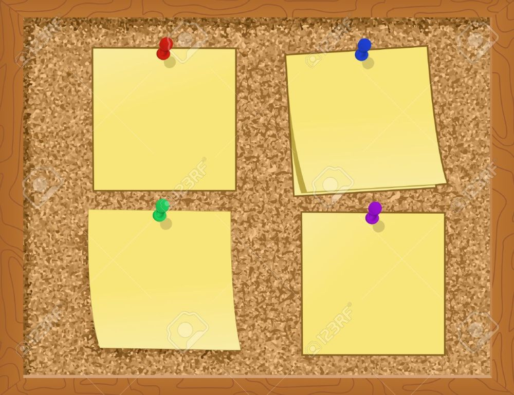 medium resolution of notes pinned to a cork board illustration stock vector 7988796