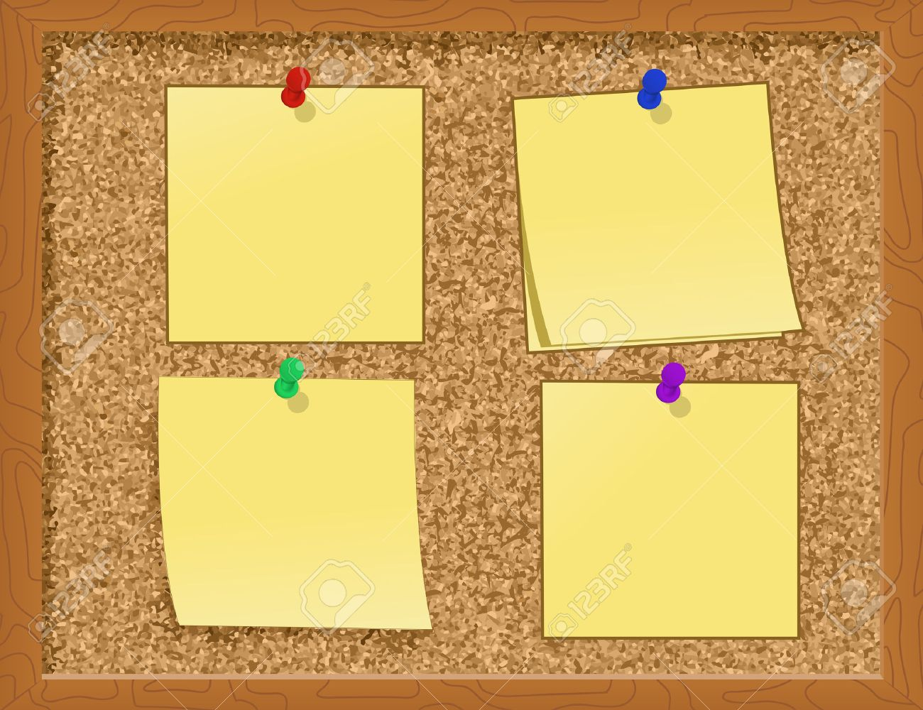 hight resolution of notes pinned to a cork board illustration stock vector 7988796