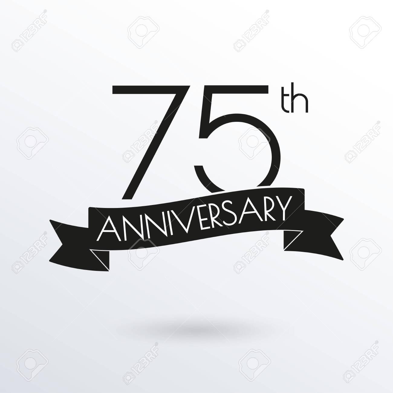 75 years anniversary logo with ribbon 75th anniversary celebration