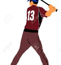 baseball player vector illustration baseball batter hitting ball with bat for home run stock [ 803 x 1300 Pixel ]