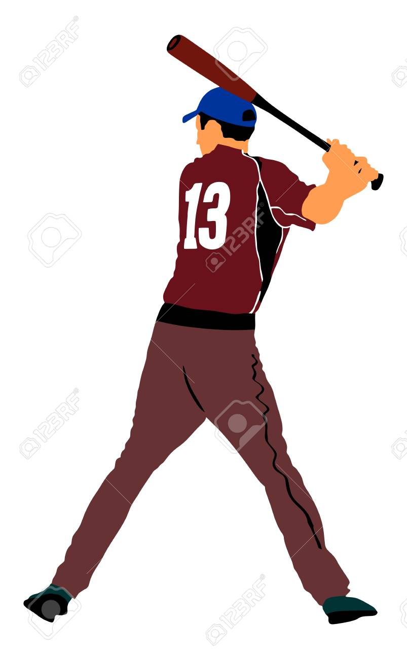 hight resolution of baseball player vector illustration baseball batter hitting ball with bat for home run stock