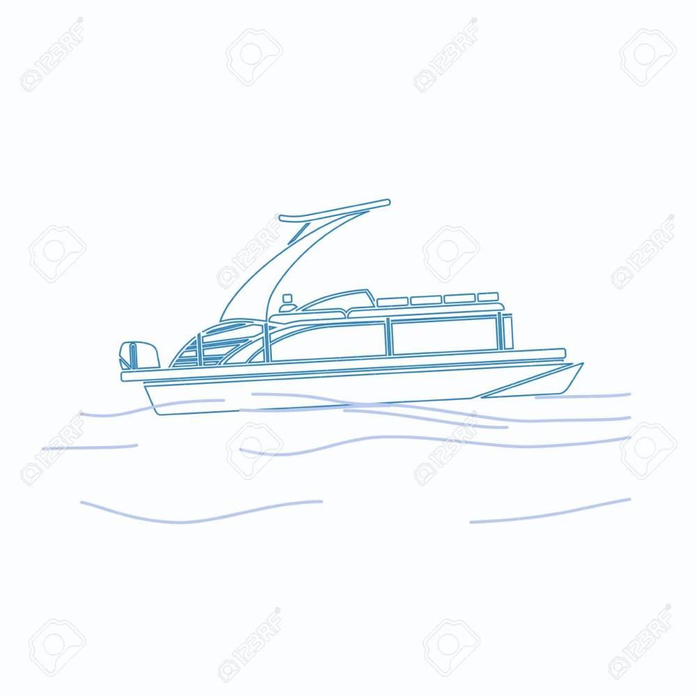 medium resolution of editable pontoon boat vector illustration in outline style stock vector 89094449