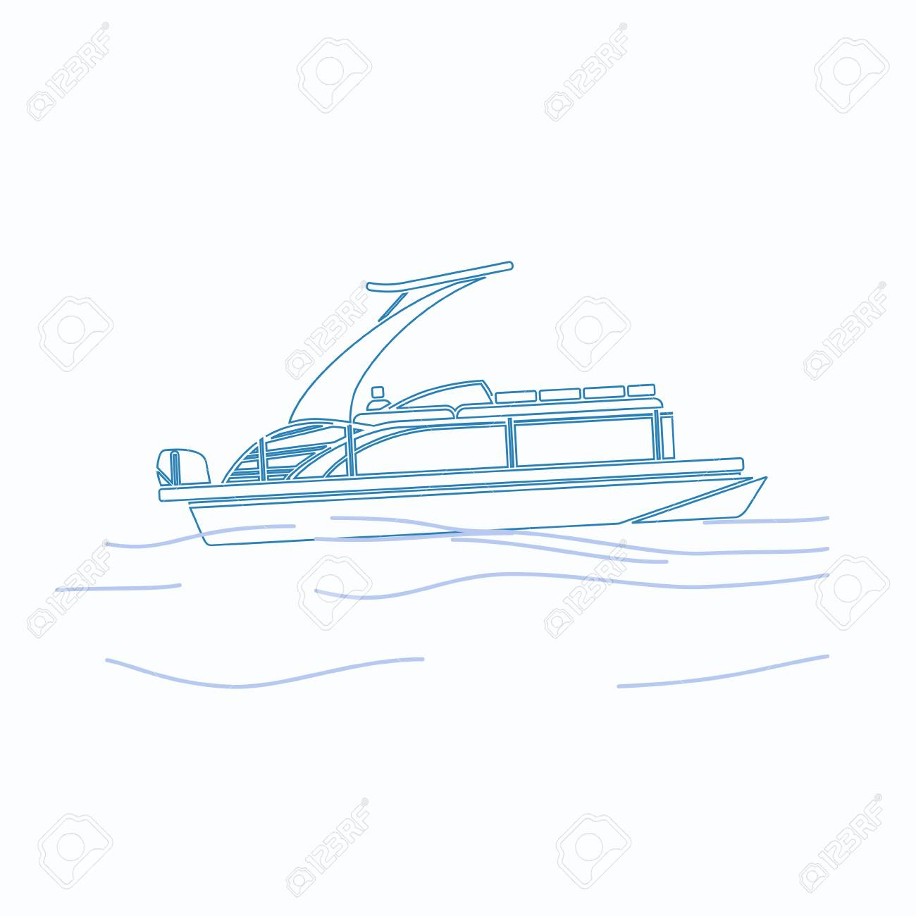 hight resolution of editable pontoon boat vector illustration in outline style stock vector 89094449