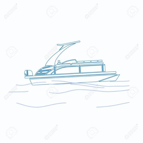 small resolution of editable pontoon boat vector illustration in outline style stock vector 89094449