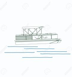 editable pontoon boat vector illustration in outline style stock vector 89094084 [ 1300 x 1300 Pixel ]