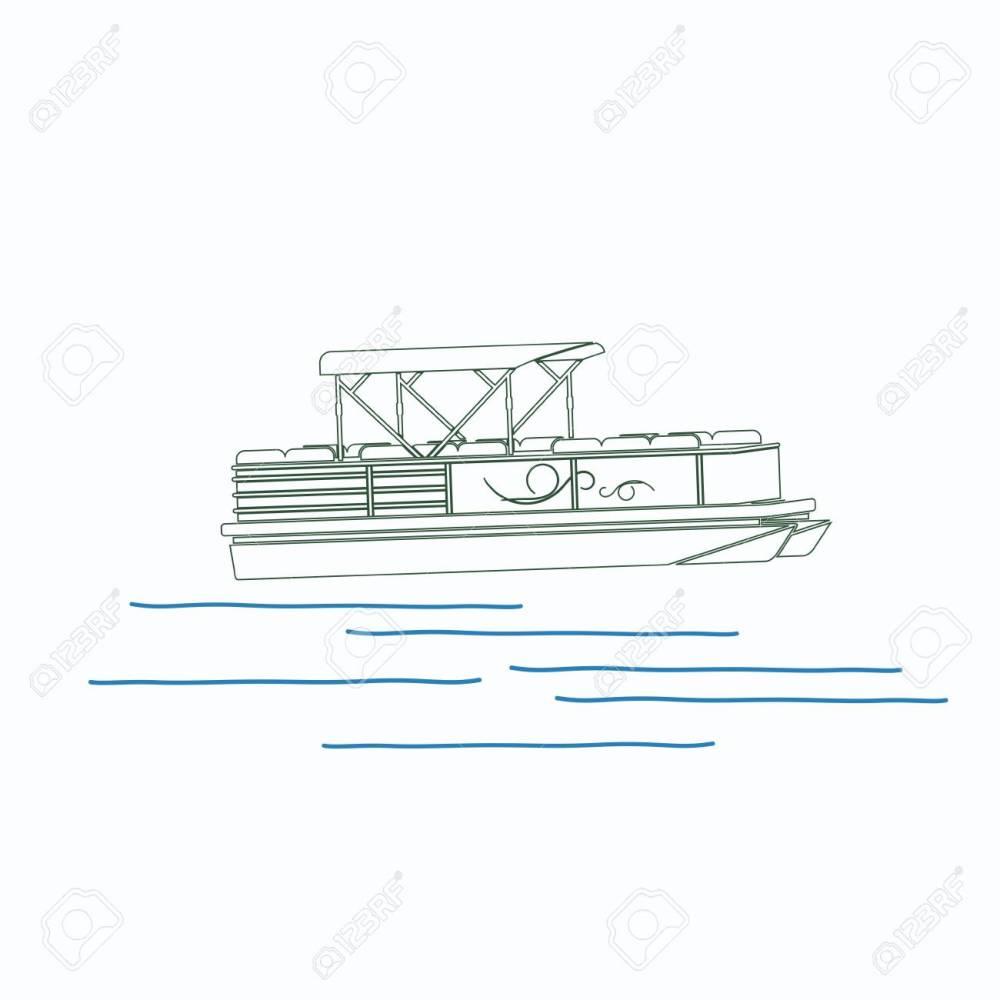 medium resolution of editable pontoon boat vector illustration in outline style stock vector 89094084
