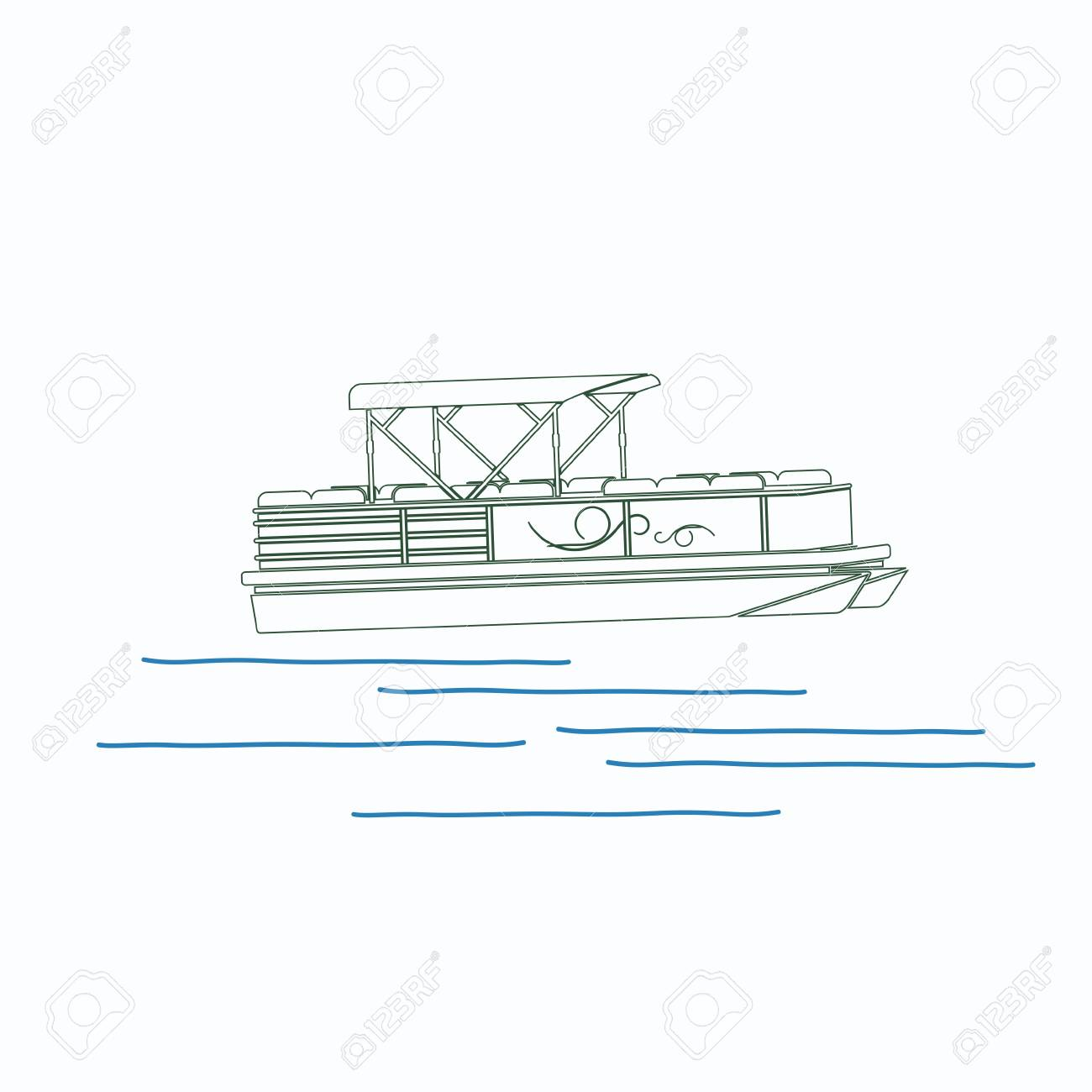 hight resolution of editable pontoon boat vector illustration in outline style stock vector 89094084