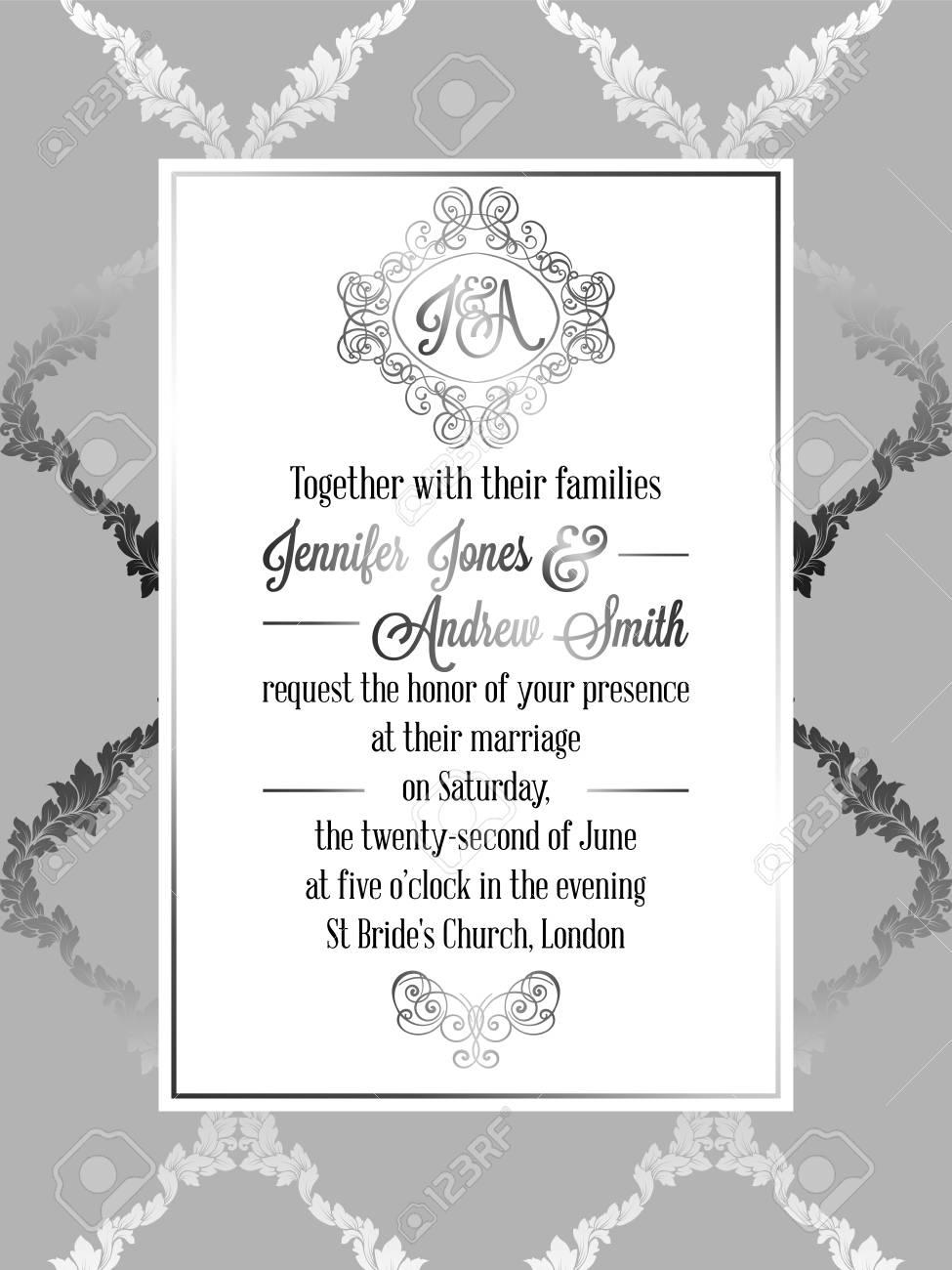 modele baroque de carte d invitation de mariage de style baroque design formel elegant avec fond damasse decoration traditionnelle pour le