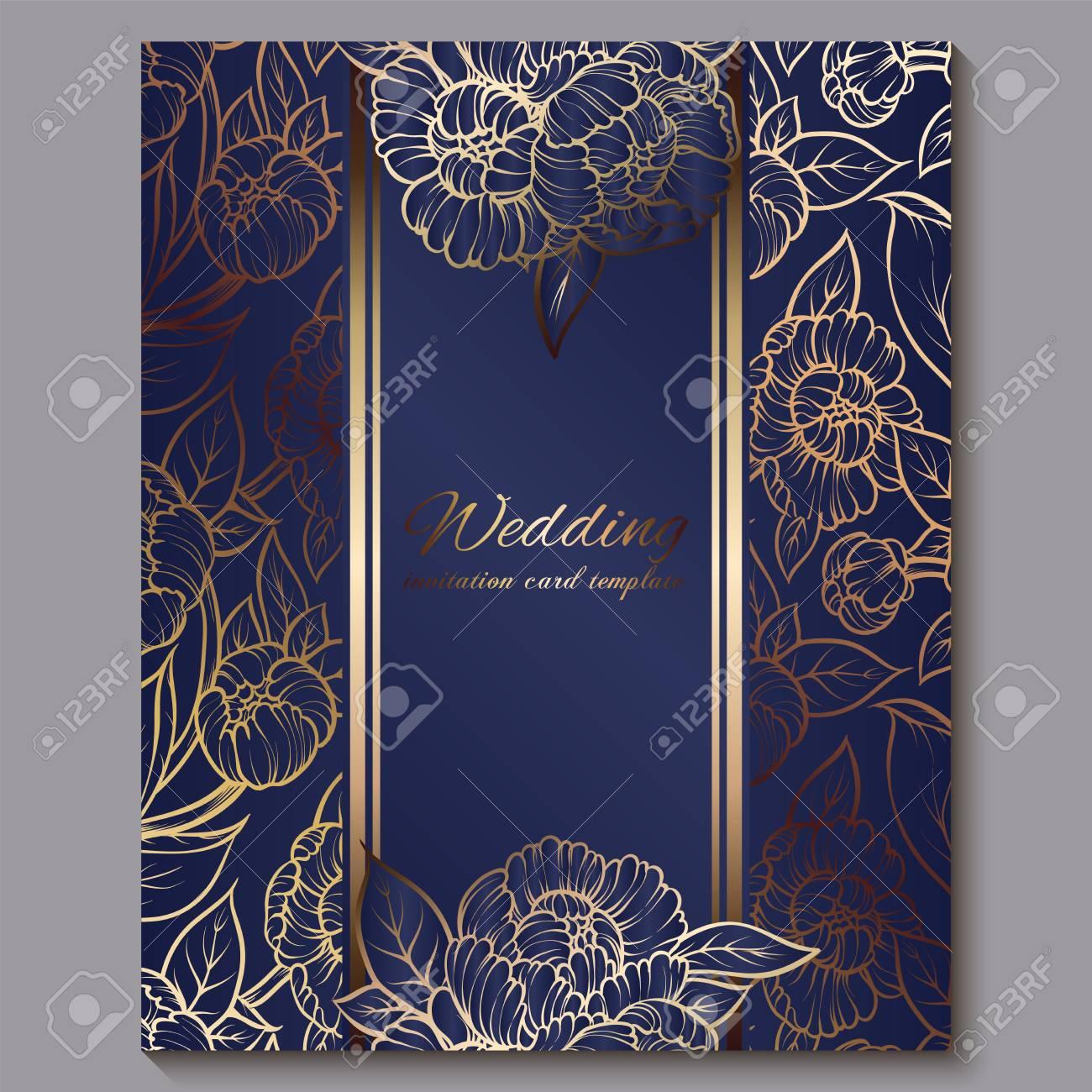 exquisite royal luxury wedding invitation gold on blue background