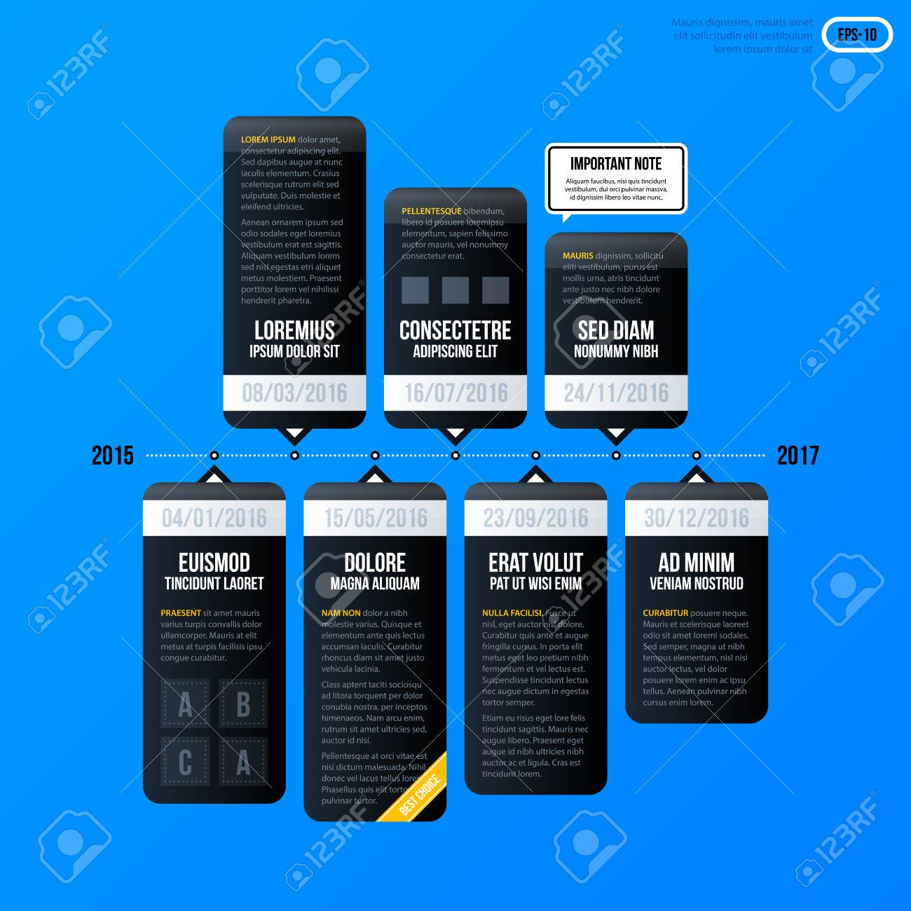 Corporate Business Timeline Template On Bright Blue Background ...