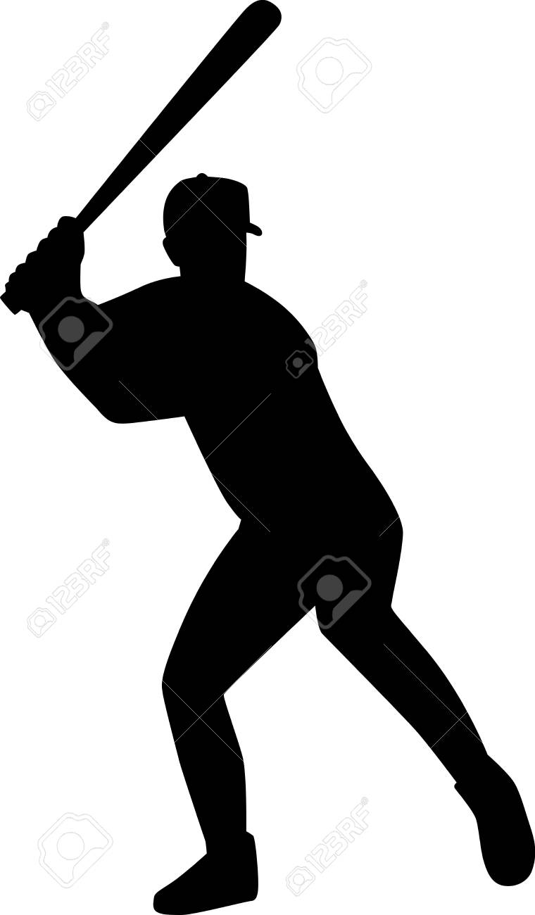 hight resolution of baseball batter silhouette stock vector 40719258