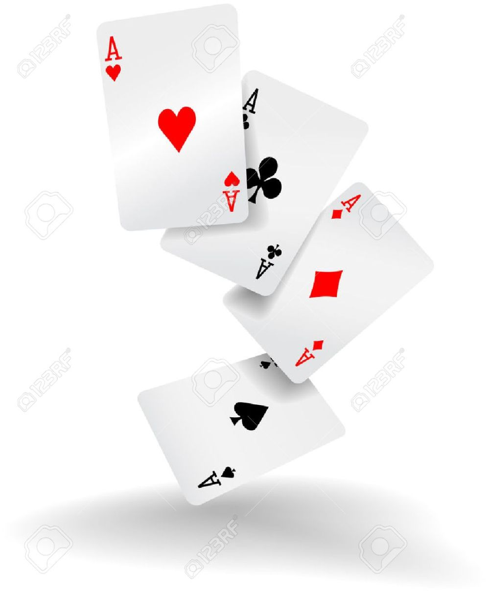 medium resolution of four aces of diamonds clubs spades and hearts fall or fly as poker playing cards