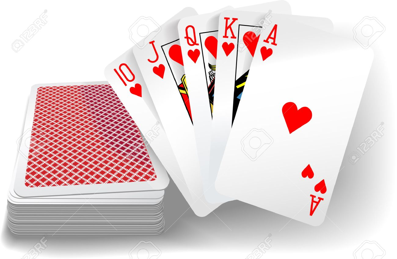 Royal Flush Hearts Five Card Poker Hand Playing Cards Deck Royalty Free Cliparts Vectors And Stock Illustration Image 28458221