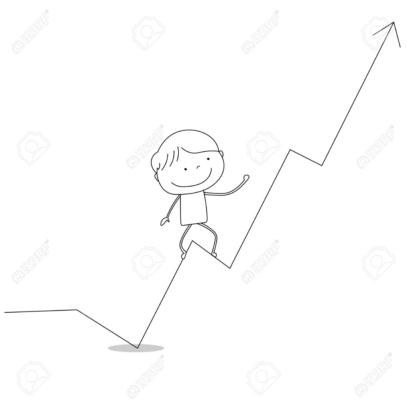 hight resolution of boy climbing business diagram chart up hand drawn cartoon style illustration sketch stock illustration
