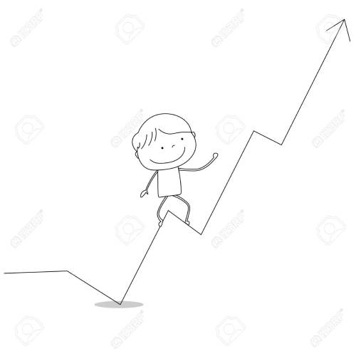 small resolution of boy climbing business diagram chart up hand drawn cartoon style illustration sketch stock illustration
