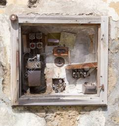 stock photo very old fusebox in an abandoned house [ 1300 x 866 Pixel ]