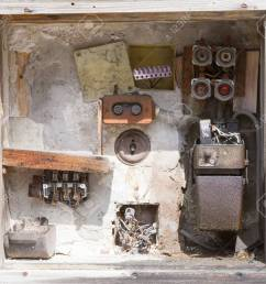 stock photo very old fusebox in an abandoned house [ 1300 x 1165 Pixel ]