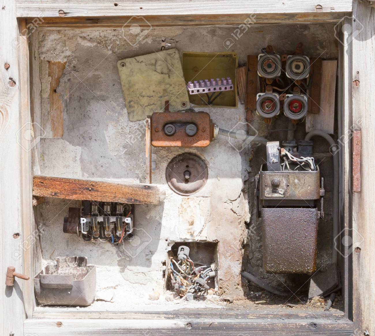 hight resolution of stock photo very old fusebox in an abandoned house