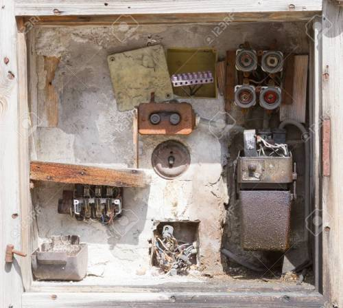 small resolution of stock photo very old fusebox in an abandoned house