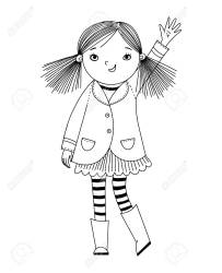 Little Girl Is Waving Her Hand Black And White Illustration Royalty Free Cliparts Vectors And Stock Illustration Image 125197974