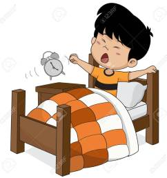 kid wake up in the morning vector and illustration stock vector 79736943 [ 1300 x 1300 Pixel ]