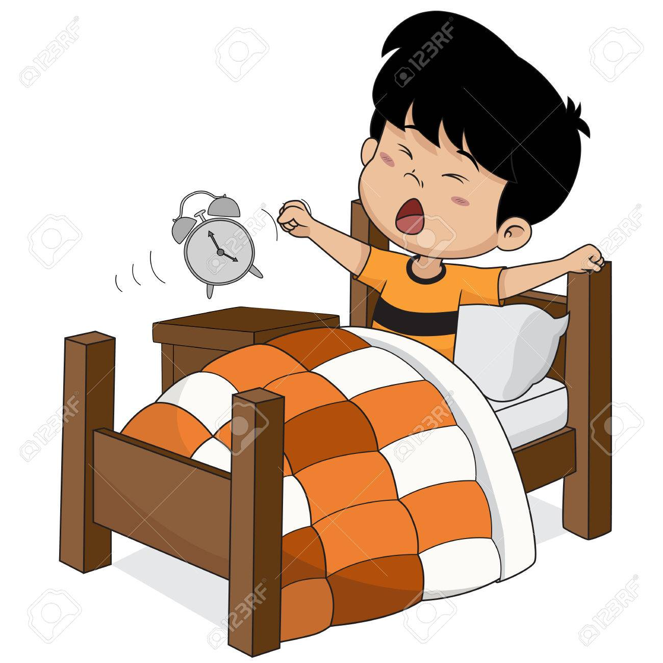 hight resolution of kid wake up in the morning vector and illustration stock vector 79736943