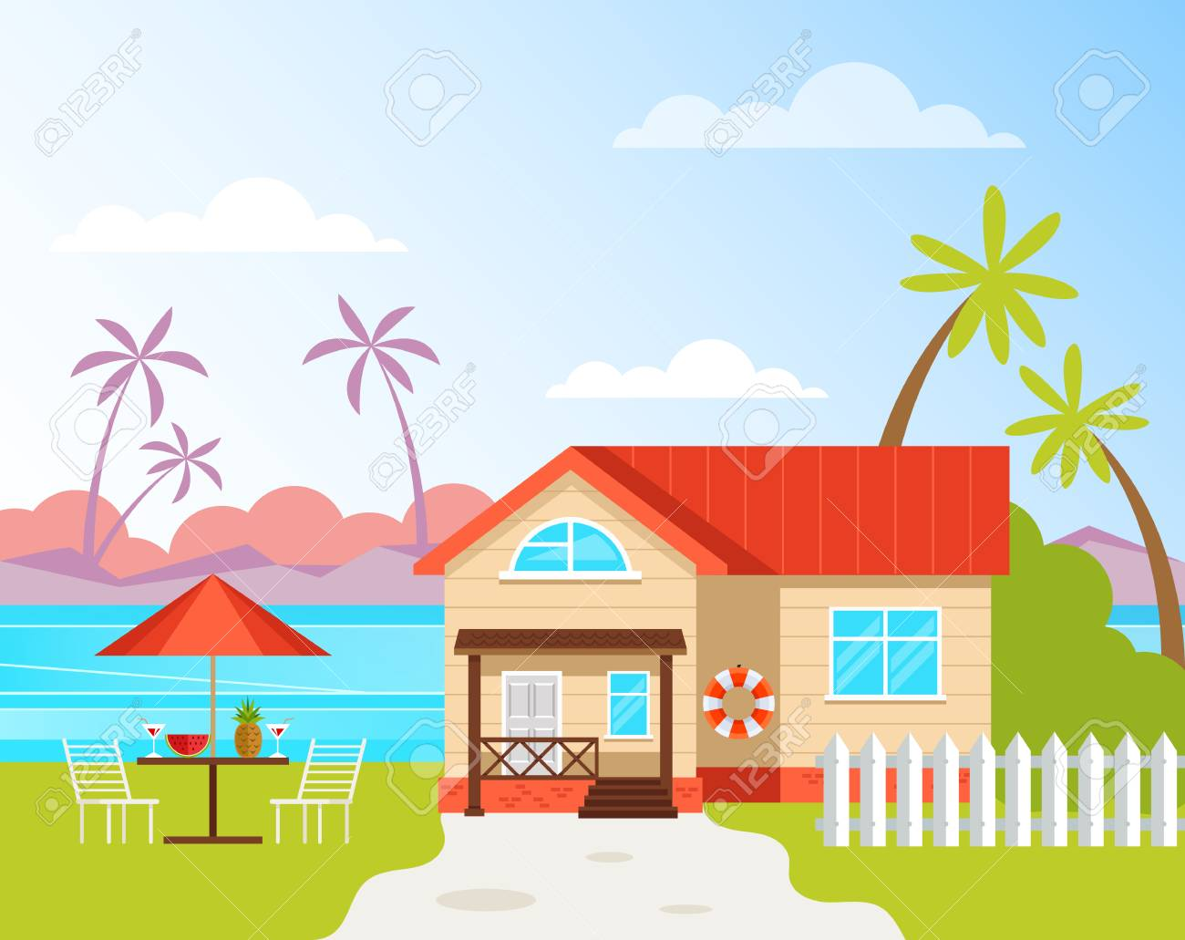 Resort House Building Rent Holiday Vacation Travel Concept Vector Royalty Free Cliparts Vectors And Stock Illustration Image 120897747