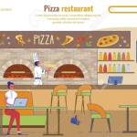 Flat Landing Page Advertising Pizza Restaurant People Rest And Snack At Fast Food Cafe Meal Delivery And Booking Table Service Online Pizzeria Interior And Staff Vector Cartoon Illustration Ilustraciones Vectoriales Clip Art