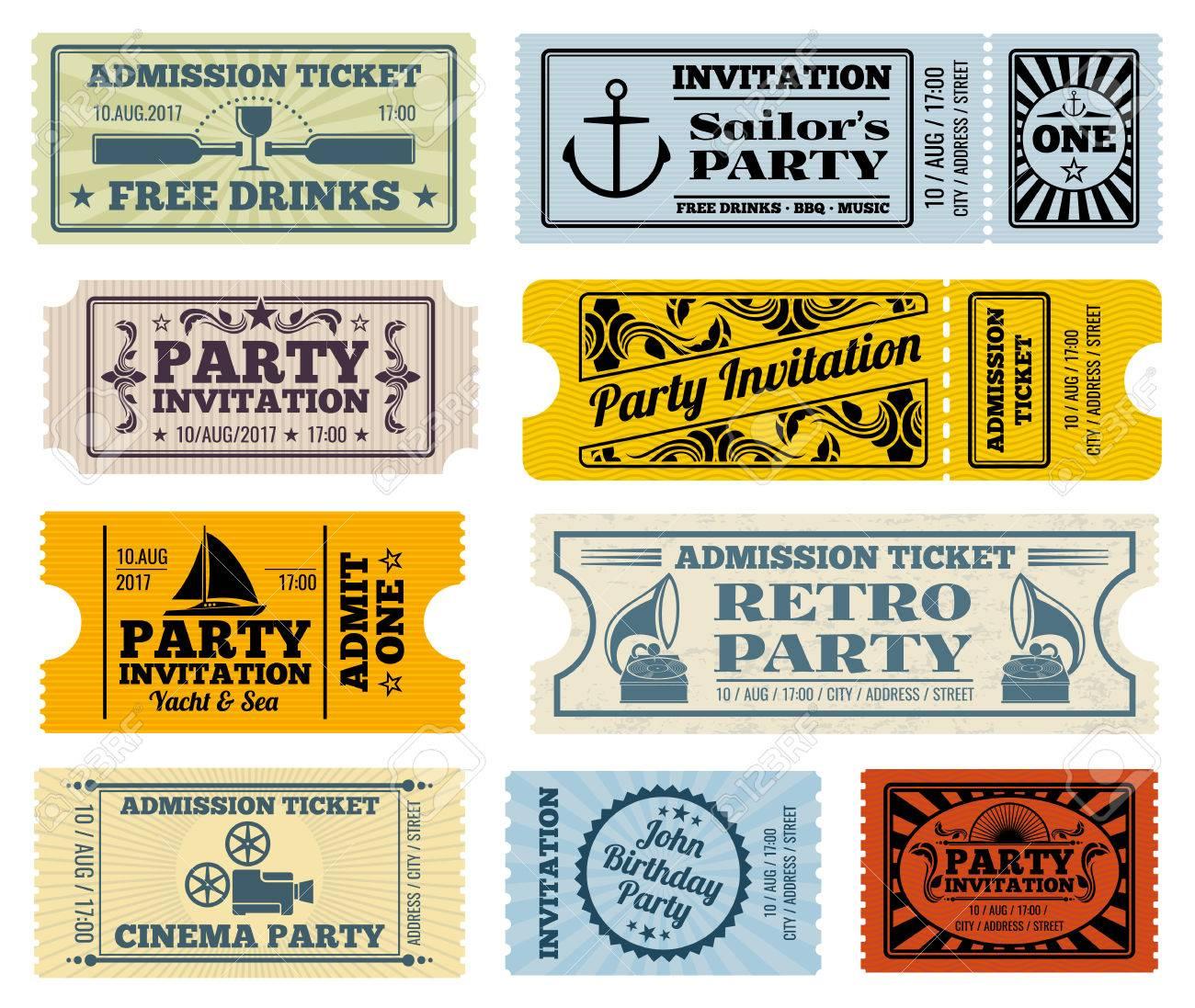 retro party cinema invitation vector tickets set invitation