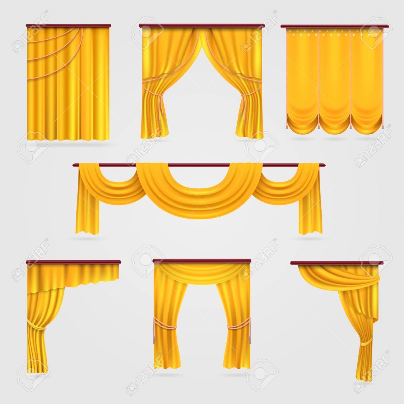 rideau en velours dore stock de vecteur de decoration de scene de mariage rideau de theatre illustration de rideau en textile isole