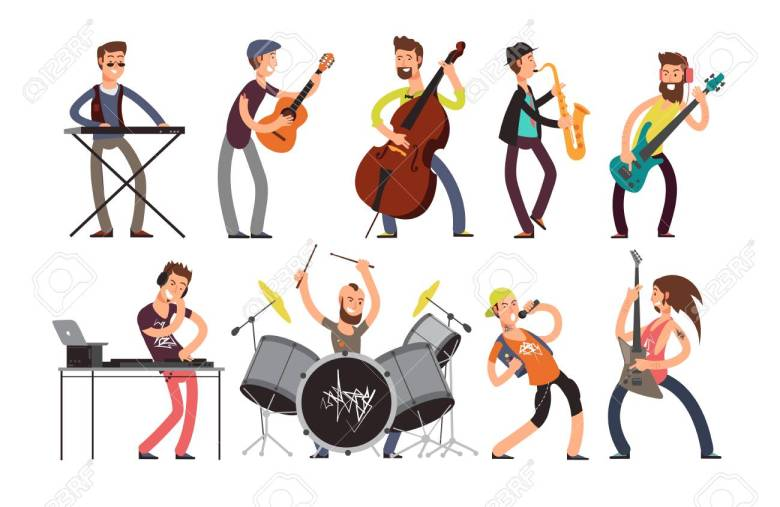 rock n roll music band vector characters with musical instruments