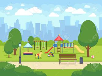 Urban Summer Public Garden With Kids Playground Cartoon Vector Royalty Free Cliparts Vectors And Stock Illustration Image 98763028