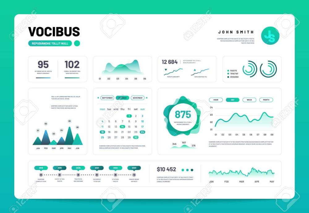 medium resolution of admin panel interface with green charts graphs and diagrams website design vector template graph and diagram infographic vector illustration