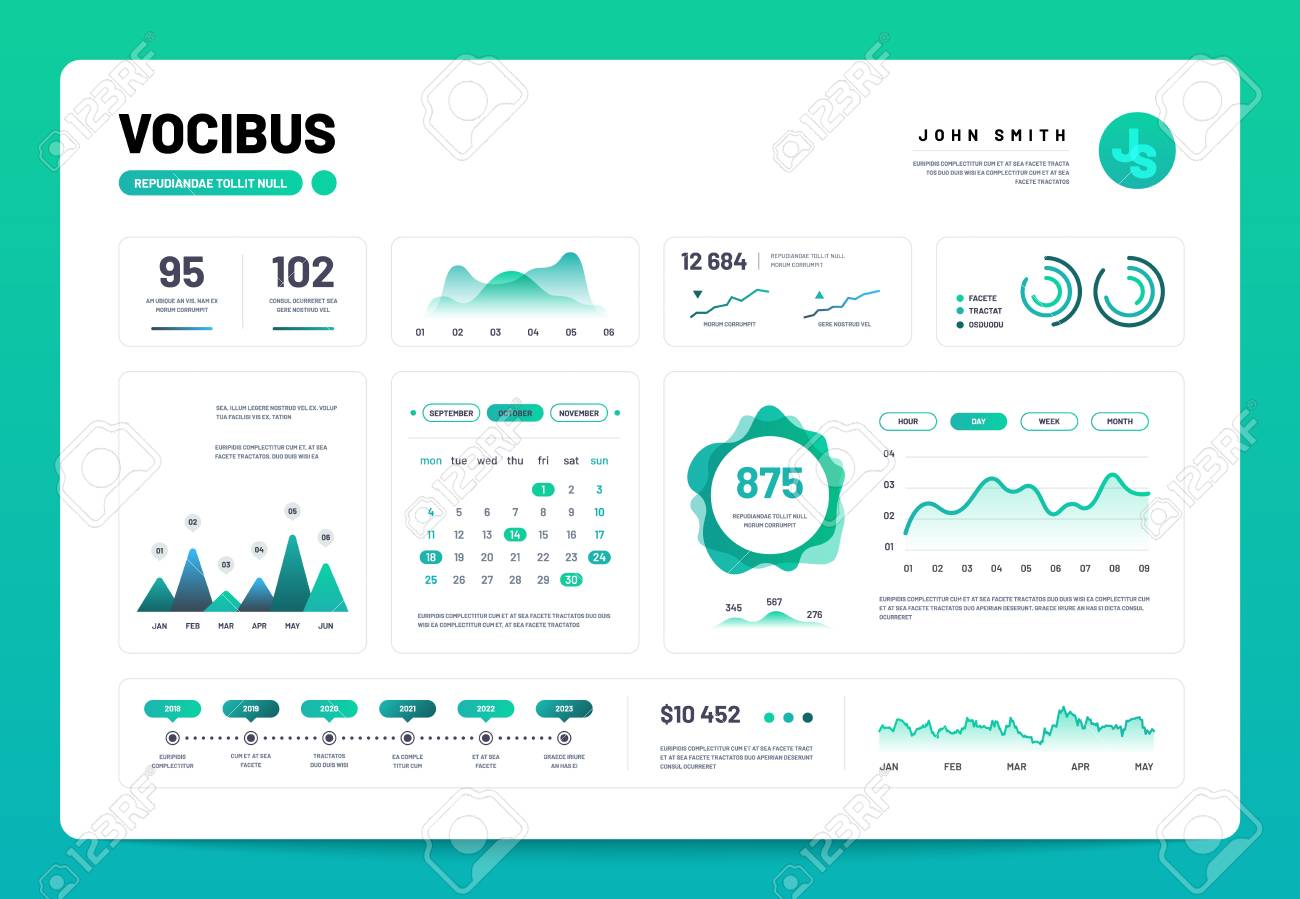 hight resolution of admin panel interface with green charts graphs and diagrams website design vector template graph and diagram infographic vector illustration