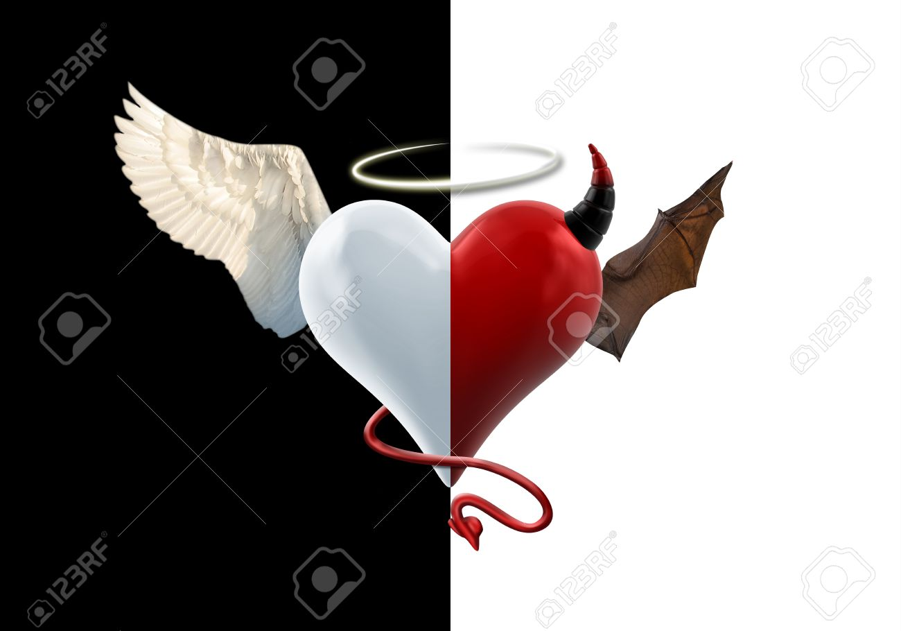 angel devil heart isolated