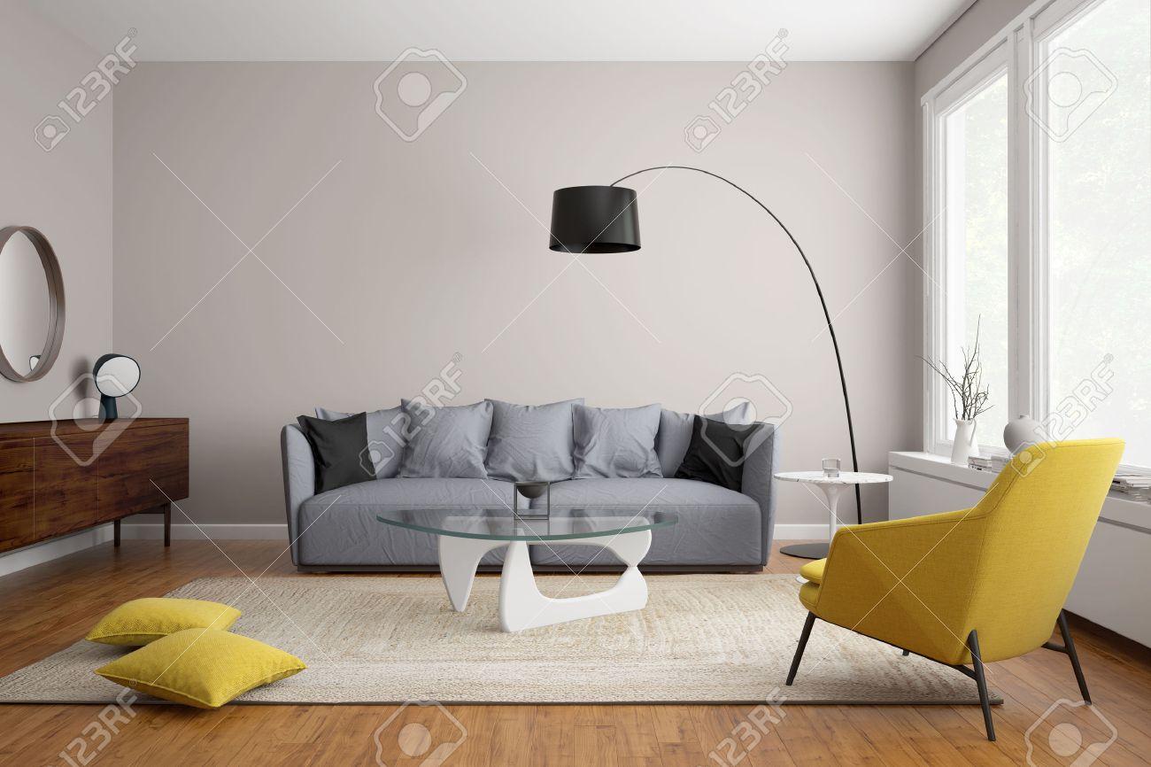 salon moderne scandinave avec canape gris