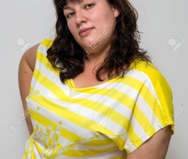 Portrait Of A Young Attractive Plump Brunette Woman Stock Photo