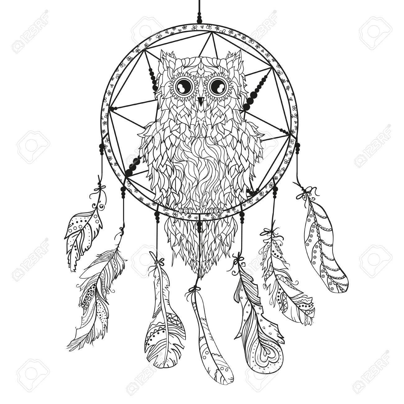Atrapasueños Búho Arte Del Tatuaje Símbolo Místico Plumas