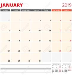 calendar planner template for january 2019 royalty free cliparts  [ 1300 x 1300 Pixel ]