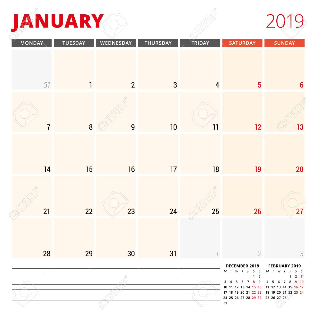 hight resolution of calendar planner template for january 2019 royalty free cliparts