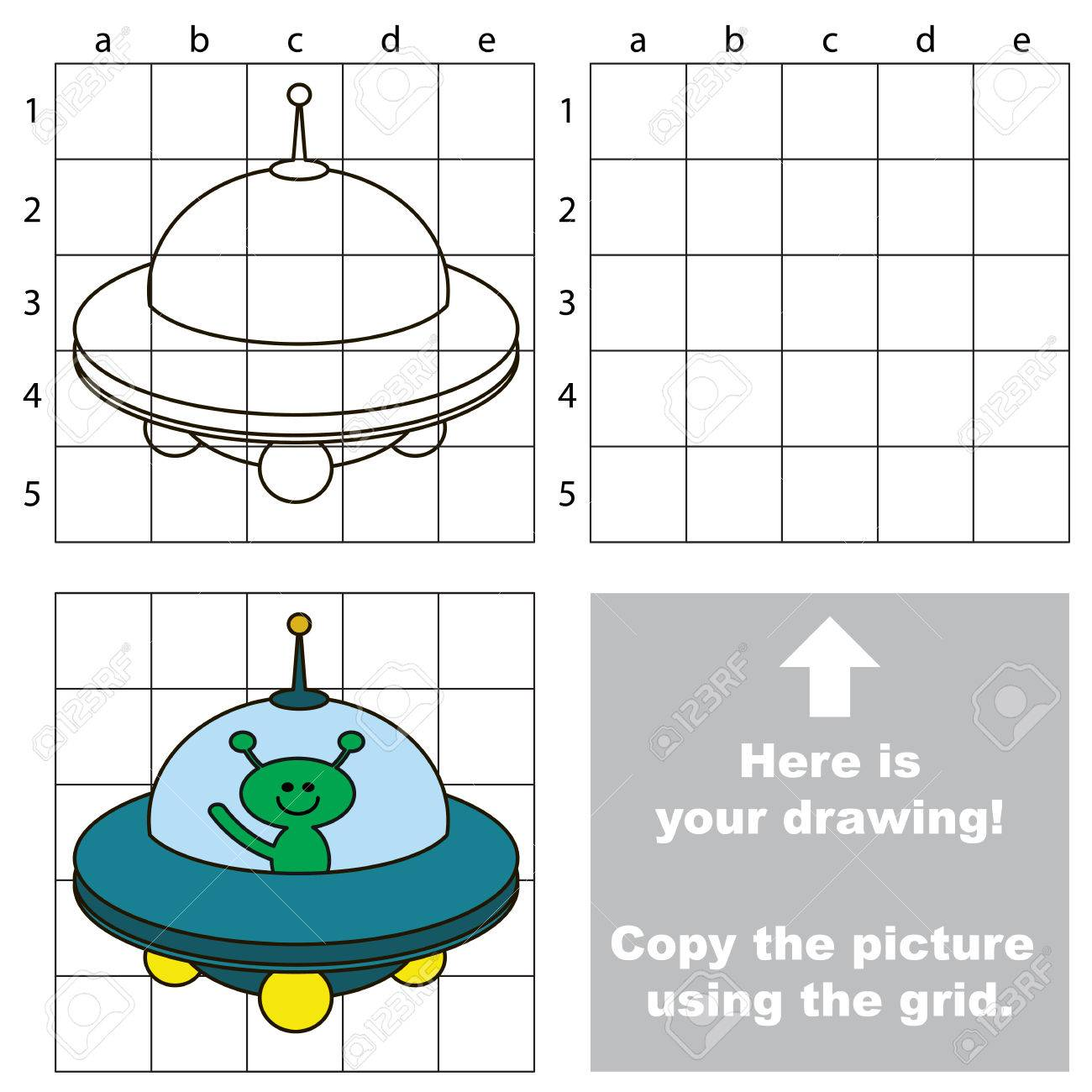 hight resolution of copy the picture using grid lines easy educational game for rh 123rf com cartoon ufo ufo designs