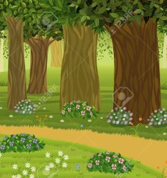 trees and flowers in an enchanted forest stock vector 9575111 [ 1300 x 866 Pixel ]