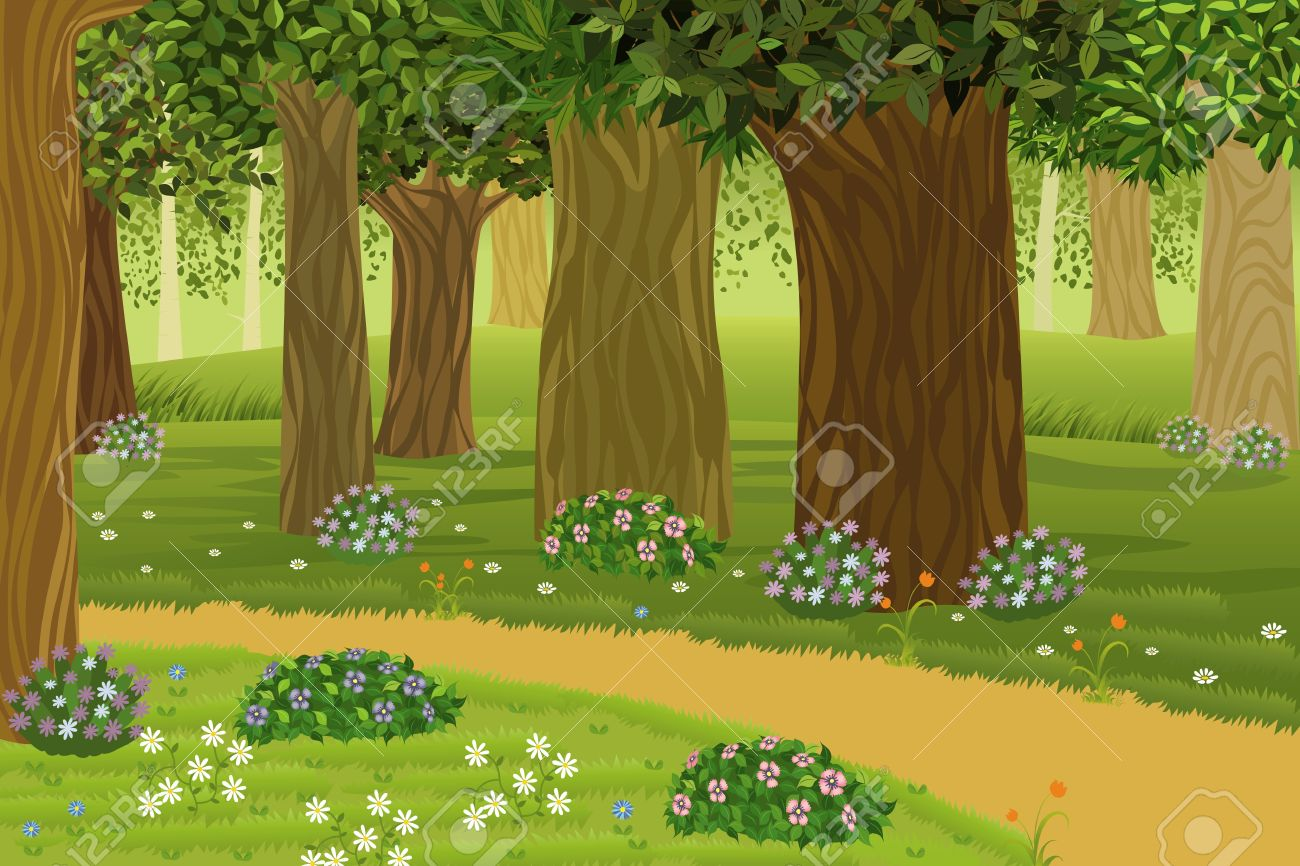 hight resolution of trees and flowers in an enchanted forest stock vector 9575111