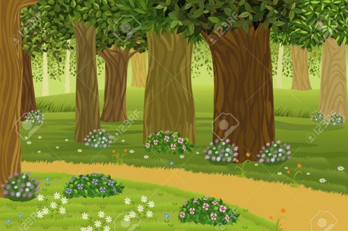 small resolution of trees and flowers in an enchanted forest stock vector 9575111