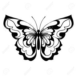 Black Silhouette Of Butterfly On White Background Decorative Royalty Free Cliparts Vectors And Stock Illustration Image 102990766
