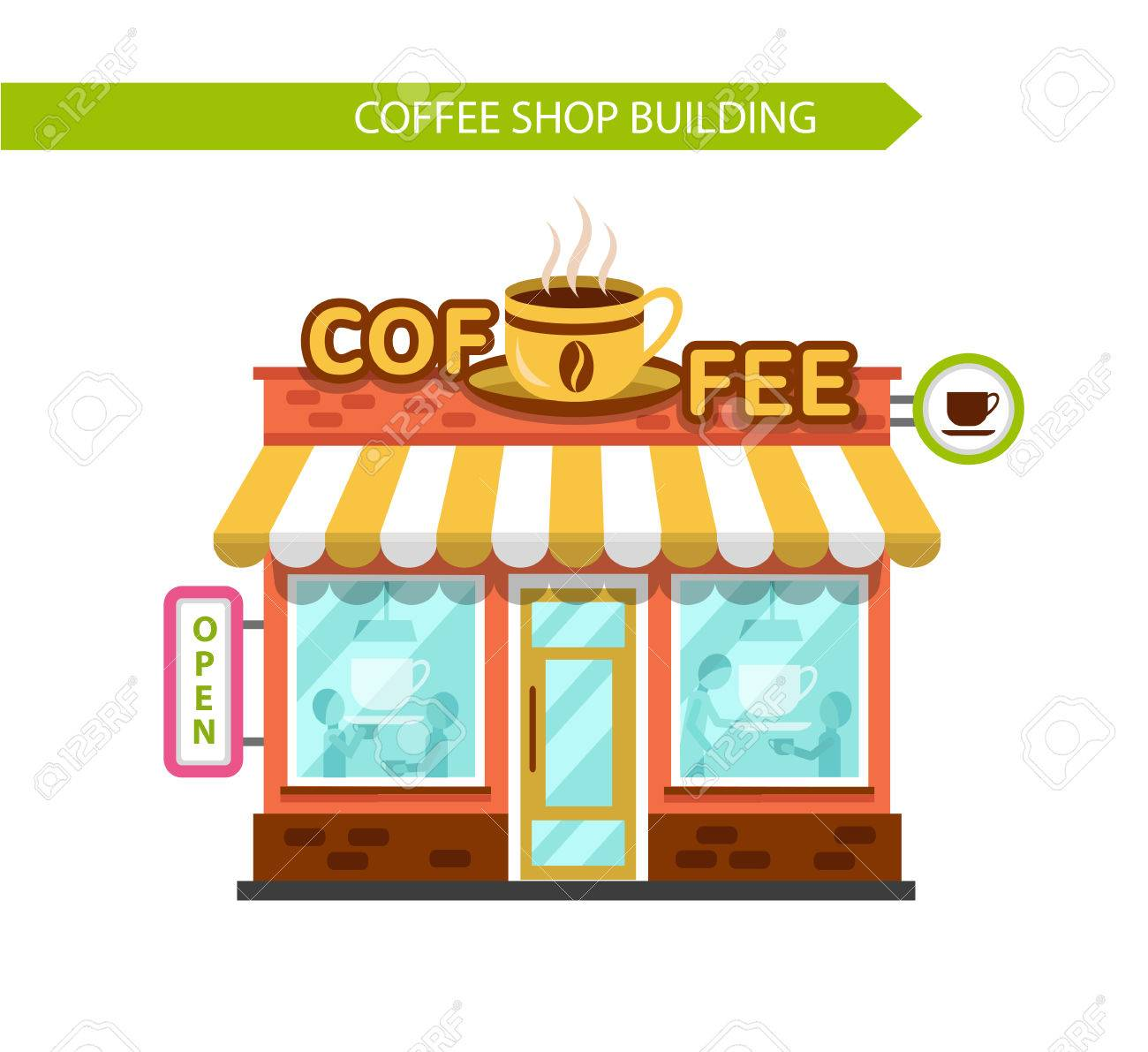 hight resolution of coffee shop building facade signboard with big hot cup of coffee people eating and